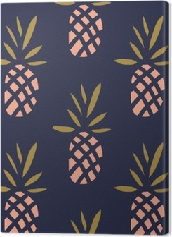 Pineapples on the dark background. Vector seamless pattern with tropical fruit. Premium prints