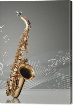Saxophone with musical notes Premium prints