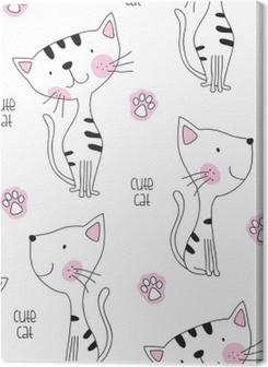 seamless cute cat pattern vector illustration Premium prints