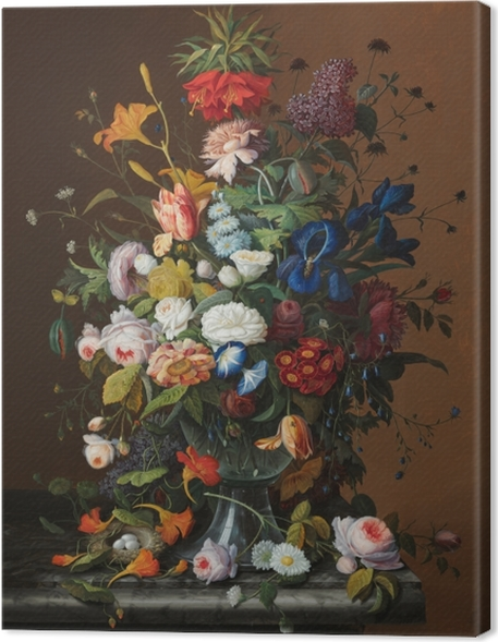 Severin Roesen - Flower Still Life with Bird's Nest Premium prints - Reproductions