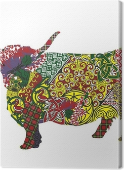 silhouette of a Scottish highland cow in Celtic patterns Premium prints