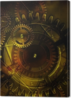 steampunk old gear mechanism on the background of old vintage pa Premium prints