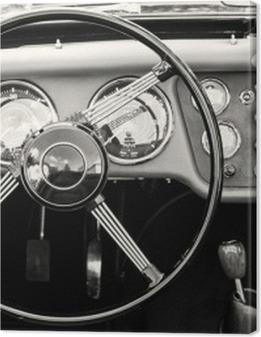 Steering wheel and dashboard in historic vintage car Premium prints