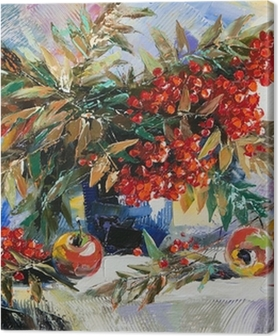 Still-life with a mountain ash and apples Premium prints