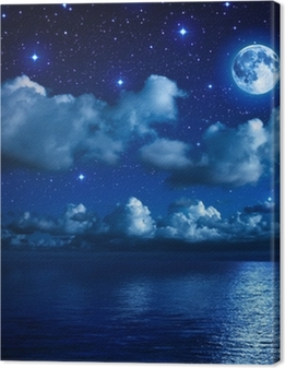 super moon in starry sky with clouds and sea Premium prints