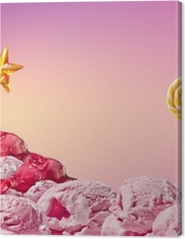 sweet magical landscape of ice cream and candy Premium prints
