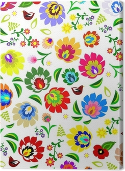 Traditional Polish repetitive folk floral pattern vector Premium prints
