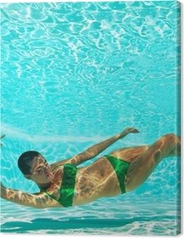 Underwater woman portrait with green bikini in swimming pool. Premium prints