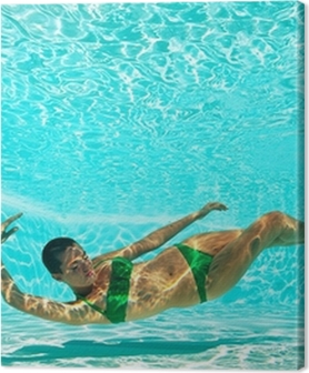Underwater woman portrait with green bikini in swimming pool. Premium prints