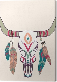 Vector illustration of bull skull with feathers Premium prints