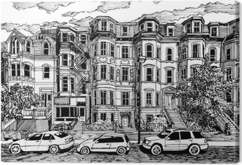 Victorian townhouses front view Premium prints
