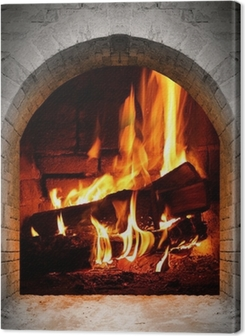 Vintage fireplace with burning logs. Premium prints