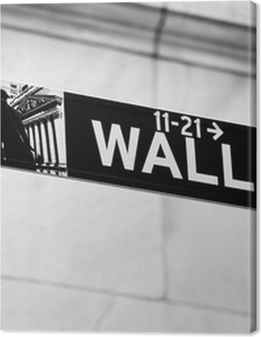 Wall Street road sign in the corner of New York Stock Exchange Premium prints