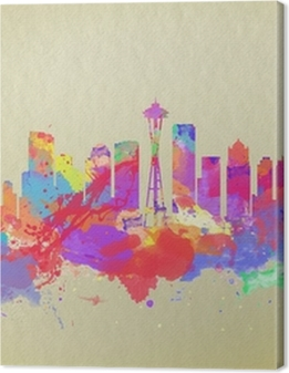 Watercolor art print of the skyline of Seattle United States Premium prints