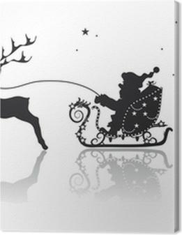 Weihnachtsmann mit Rentier im Schlitten Premium prints