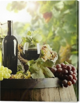 Wine with cask and vineyard Premium prints