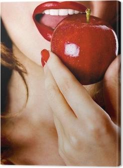 Woman eating apple Premium prints
