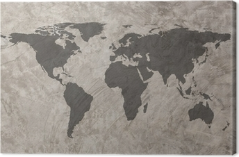 World map on Grunge Concrete Wall texture background Premium prints