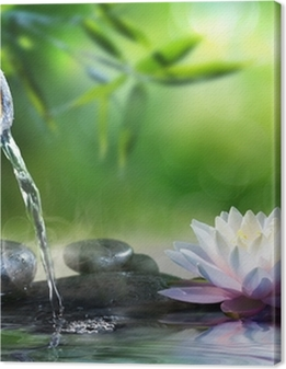 zen garden with massage stones and waterlily Premium prints
