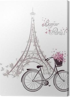 Premiumbilder Bonjour Paris text med Eiffeltornet och cykel