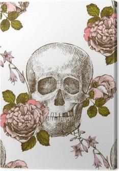 Premiumbilder Seamless mönster skalle med blommor