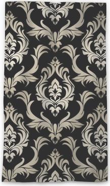 Průsvitný okenní závěs Bezešvé retro damask tapety - stříbrné květinové ornament na černé.
