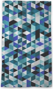 Průsvitný okenní závěs Retro styl trojúhelník vzor. Náhodně barevné trojúhelníky, vertikální rozložení. Barvy oceánu. Abstraktní geometrické vektor pozadí.