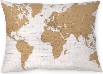 Prydnadskudde Världskarta vintage vektor