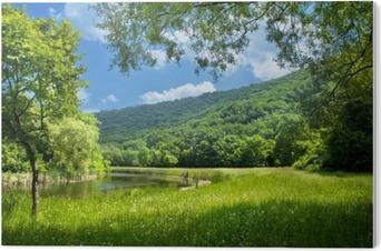 PVC Baskı Nehir ve mavi gökyüzü ile yaz manzara