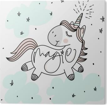 PVC-Bilde Magisk søt enhjørning, stjerner, skyer og håndbokstaver plakat, gratulasjonskort, vektorillustrasjon med disposisjon