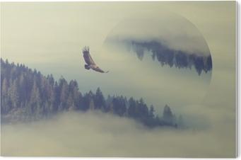 PVC-Bilde Skog på fjellet skråningen. geometrisk refleksjonseffekt