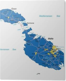 Malta Kartta Kangaskuva Pixers Elamme Muutoksille