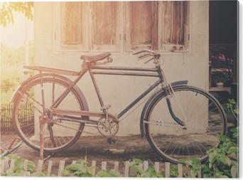 Vintage polkupyörä tai vanha pyörä vintage puisto vanhan seinän kotiin. PVC-muovituloste