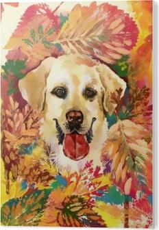 Autumn dog. hand drawn illustration PVC Print