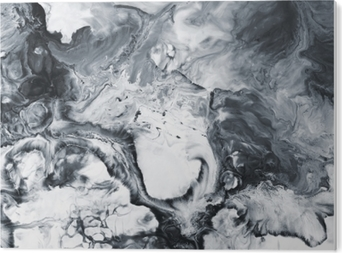 Black and white marble abstract hand painted background PVC Print