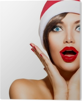 64cb32160f3d0 Christmas Woman. Beauty Model Girl in Santa Hat Wall Mural • Pixers® • We  live to change