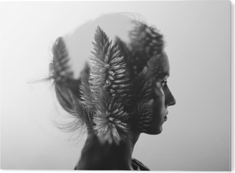 f3735911a6e16b Creative double exposure with portrait of young girl and flowers,  monochrome PVC Print