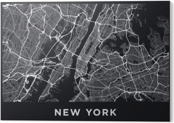 Dark New York City map. Road map of New York (United States). Black and white (dark) illustration of new york streets. Transport network of the Big Apple. Printable poster format (album). PVC Print