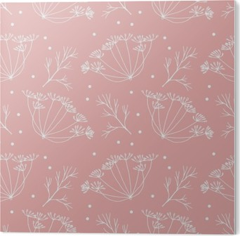 Dill or fennel flowers and leaves pattern. PVC Print