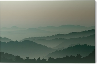 Green mountains in fog PVC Print