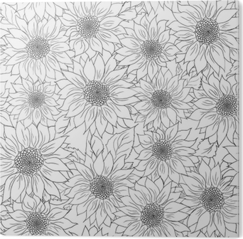 Hand Drawn Pattern Sunflowers Background Flower Black White Packaging Products PVC Print