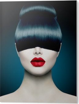 High Fashion Model Girl Portrait with Trendy Fringe PVC Print