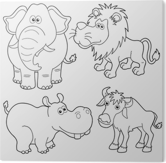 Illustration Of Wild Animals Cartoons Outline Wall Mural Pixers