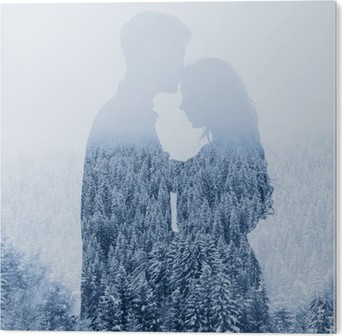 love in winter, silhouette of couple on forest background, double exposure PVC Print