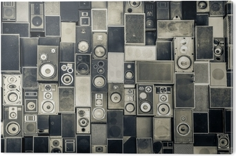 Music speakers on the wall in monochrome vintage style PVC Print