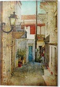 old greek streets- artistic picture PVC Print
