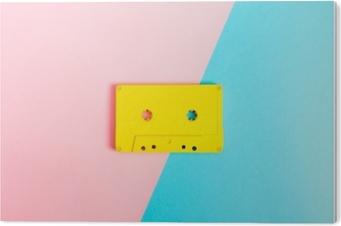 Retro cassette tapes on bright background PVC Print
