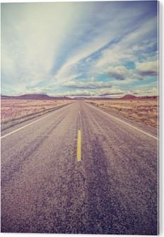 Retro stylized desert highway, travel adventure concept. PVC Print