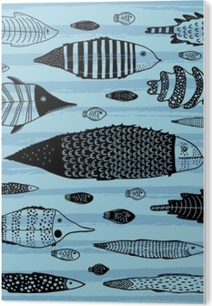 Set of funny fishes. PVC Print