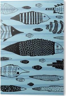 Set of funny fishes. PVC Print